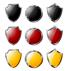 Set of steel shields isolated on white vector