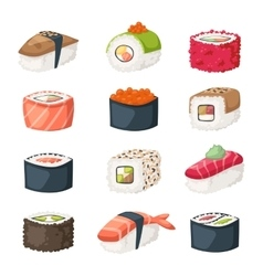 Sushi roll with salmon smoked eel selective food vector