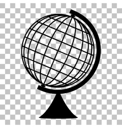 Earth globe sign flat style black icon on vector