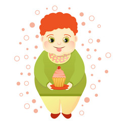 A fat red-haired boy holds a cake and licks vector