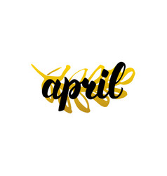 April handwritten lettering vector
