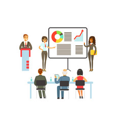 businesspeople making presentation and explaining vector image vector image