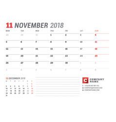 Calendar template for november 2017 business vector