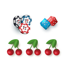 Casino symbols - jackpot cherry dices and tokens vector