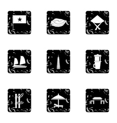 Country vietnam icons set grunge style vector