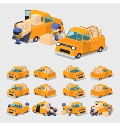 Cube world orange pickup truck vector