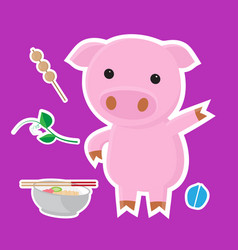 cute pig cartoon sticker set on blue background vector image vector image