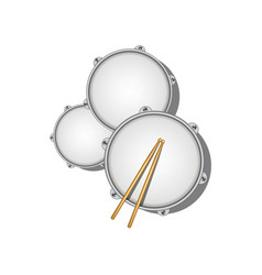 Drums and pair of wooden drumsticks vector