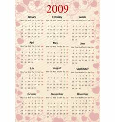 european pink calendar with hearts vector image vector image