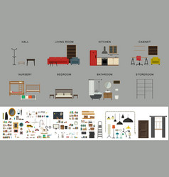 furniture interior elements vector image vector image