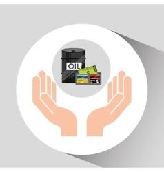 Hand oil industry barrel wallet money vector