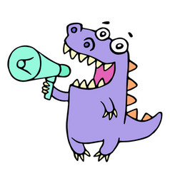 Happy purple dragon shouting in loudspeaker vector