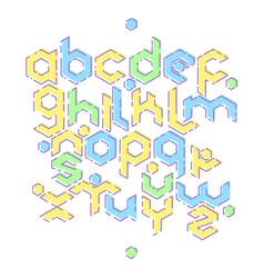 hexagonal mbe alphabet vector image vector image