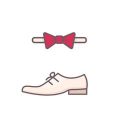 men shoe and bow tie vector image