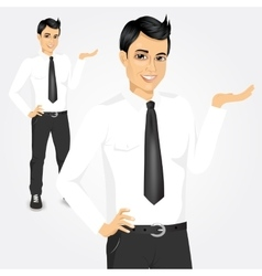 modern young businessman holding something vector image vector image