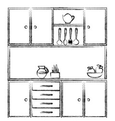Monochrome sketch of kitchen cabinets with vector