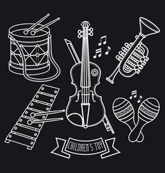 Musical instruments childrens toys set violin drum vector