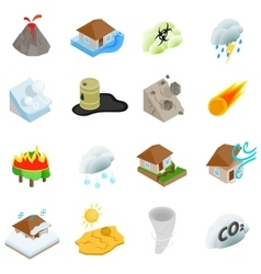 Natural disaster icons set isometric 3d style vector image vector image