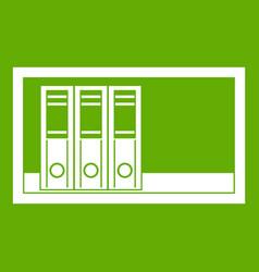 Office folders on the shelf icon green vector