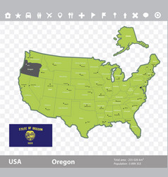oregon flag and map vector image vector image