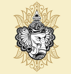 ornament beautiful card with god ganesha vector image