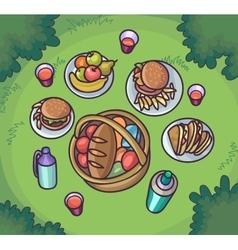 Picnic food in the meadow Flat cartoon outdoor vector image