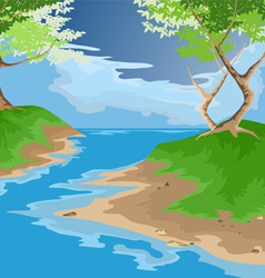 river and forest vector image