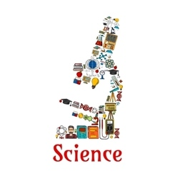 Science symbol in shape of microscope vector
