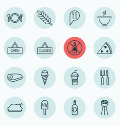 Set of 16 eating icons includes soda pepperoni vector