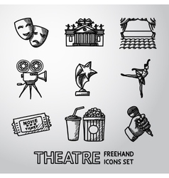 Set of freehand theatre icons - masks theater vector