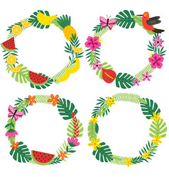 Set of isolated tropical wreaths vector