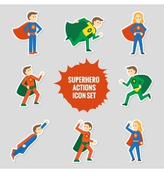 Set of superheroes stickers vector