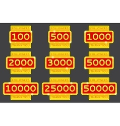Set of thanks for followers in network vector