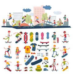 skateboarders on skateboard characters vector image