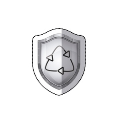 Sticker shield with arrow recycled symbol vector