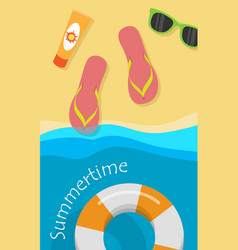 Summertime concept in flat style design vector
