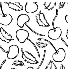 Sweet cherry and mint leaves seamless doodle vector