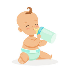 sweet little baby sitting and drinking milk in a vector image vector image