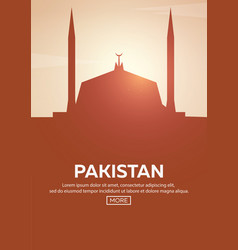 travel poster to pakistan landmarks silhouettes vector image vector image