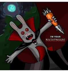 Vampire rabbit with steel carrot vector