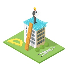 isometric 3d of city building with blueprints vector image