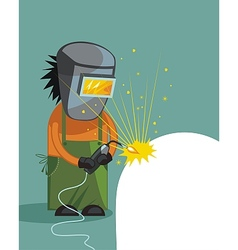 Cartoon of a welder vector image