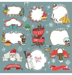 Christmas season doodle symbolsbadges vector image