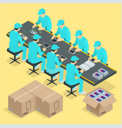 factory manual assembly line with works and vector image