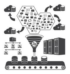 Big data icons set cloud computing concept vector