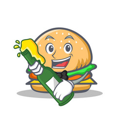 Burger character fast food with beer vector