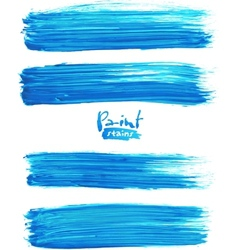 Bright blue acrylic brush strokes vector image