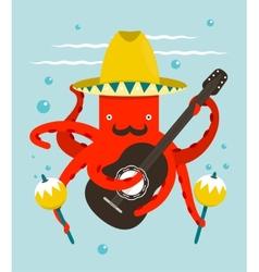 Sombrero macho moustache octopus playing guitar vector
