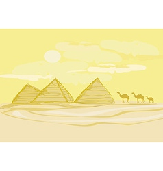 Pyramids giza and camels silhouette on desert vector