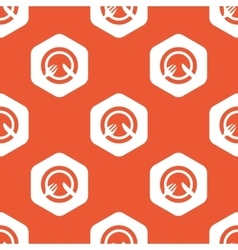 Orange hexagon tableware pattern vector